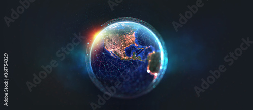 Earth view from space. Global network. Blockchain technology. Planet and communication. Future world 3D illustration. Elements of this image are furnished by NASA #361754329