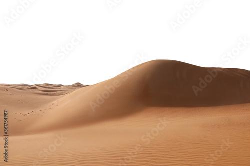 Big hot sand dune on white background Canvas Print