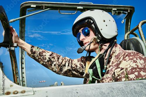 military pilot in a helmet