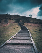 Wooden Steps Leading Up A Coun...