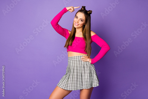 Photo of pretty lady amazing look showing finger head new hairstyle cute pretty funny buns wear pink off-shoulders cropped top plaid skirt isolated pastel purple color background