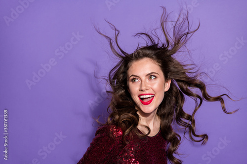 Closeup photo of charming surprised lady students party night club hairdo flight youth night look empty space interested wear sequins burgundy dress isolated purple color background