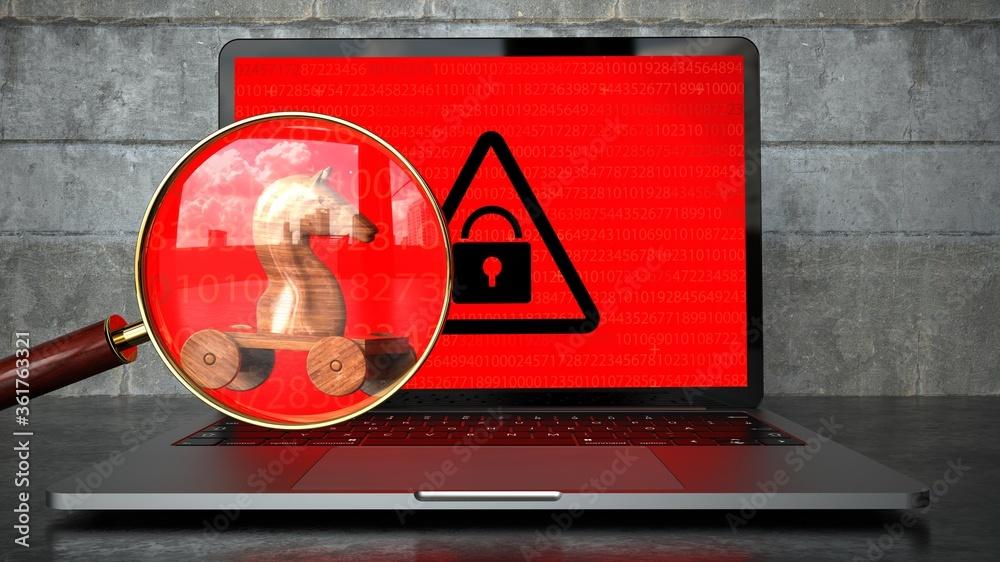 Fototapeta Encrypted Notebook Trojan Malware Detected