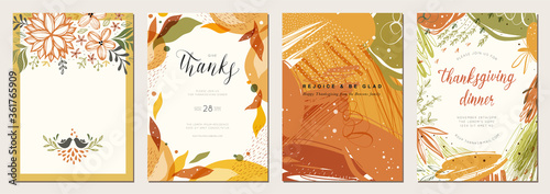Thanksgiving cards. Set of abstract creative universal artistic templates. Good for poster, invitation, flyer, cover, banner, placard, brochure and other graphic design. - 361765909