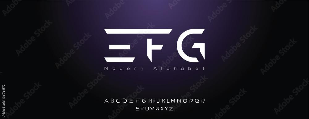 Fototapeta Abstract digital modern alphabet font.Minimal slim typography monogram font style. Vector illustration and tech font.