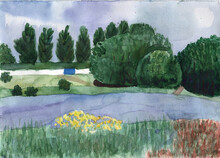 Watercolor Landscape With A Sm...