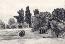 Pencil Drawn Landscape With A ...
