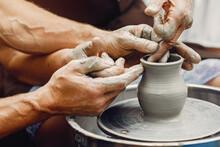 Potter Make A Small Jug. Hands...