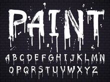 Paint Dripping Paint Font For Latin Alphabet Isolated On Dark Background With Bricks. White Oil English Letters. Wet Painted Abc Sign Text With Splatters, Calligraphy Concept Vector Illustration