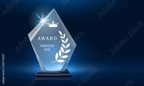 Glass trophy award shining with light Fotobehang
