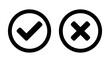Set of Yes and No or Right and Wrong or Approved and Rejected Icons with Check Mark and Cross Symbols in Circles. Vector Image.