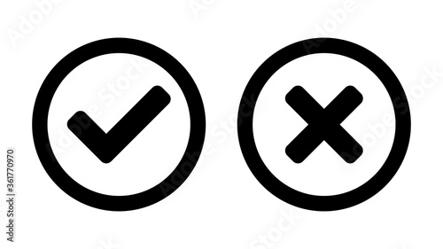Set of Yes and No or Right and Wrong or Approved and Rejected Icons with Check Mark and Cross Symbols in Circles Tapéta, Fotótapéta