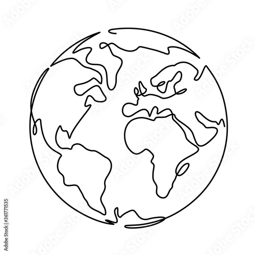 Earth. One line globus, world planet graphic icon, america, europe and asia global technology, simple continuous shape doodle vector concept. World map minimalist design isolated on white background