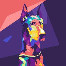 Doberman Dog Illustration Design Pop Art Style