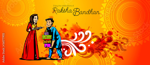 illustration of greeting card, sale abstract or poster with decorative Rakhi for фототапет