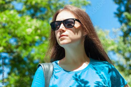 girl, sunglasses, young, park, fashion, beautiful, natural, beauty, portrait, ou Canvas Print
