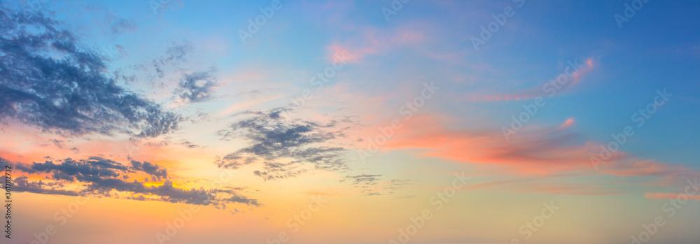 Fototapeta Panoramic  Sunset  Sunrise Sundown Sky with colorful clouds