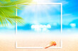 Leinwandbild Motiv Blur beautiful nature green palm leaf on tropical beach and bokeh with white frame abstract background.