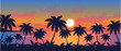 palm trees on the ocean beach at sunset vector  landscape illustration
