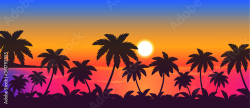 Fototapeta tropical sunset over the ocean and palm trees, vector beach landscape illustration obraz