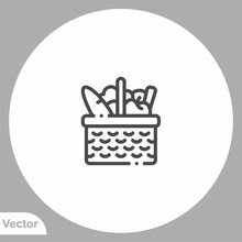 Picnic Basket Vector Icon Sign Symbol