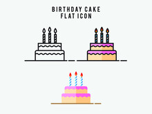 Birthday Cake Flat Icon On White Background. Cake For Birthday Celebration With Three Candles. Vector Illustration Icons For Web Design