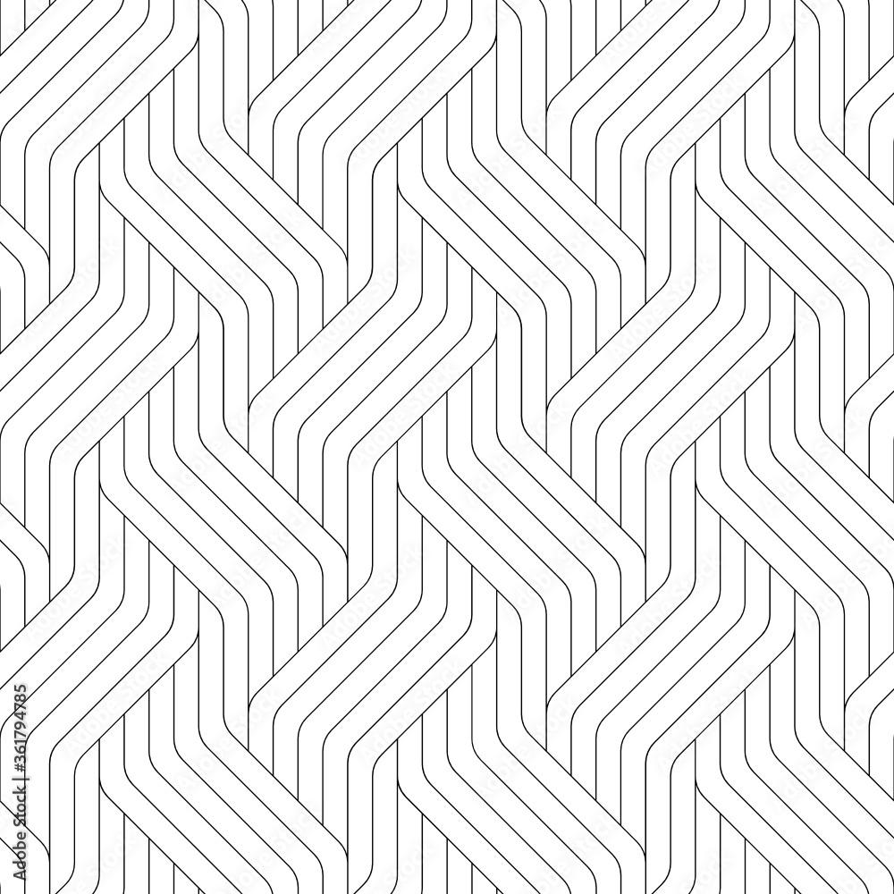 Fototapeta Vector geometric seamless pattern. Modern geometric background. Striped grid.