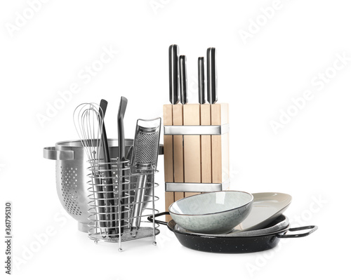 Fotografía Set of different cooking utensils and dishes on white background