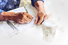 Abstract Colorful Business Man Drawing And Writing Creative Work On Table In The Offices On Watercolor Illustration Painting Background.