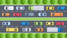 Vector Illustration Of Highway Top View With Sidewalk, Cars, Trees And  Vehicles. Street Urban Concept In Flat Cartoon Style For Map, Web, Banner. City Infrastructure. Top View Of The City.