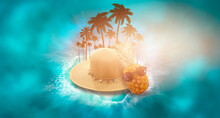 Summer Abstract Marine Background For Travel. Pineapple With Glasses, A Suitcase, A Summer Wicker Hat, Palm Branches. Background Of Sea Frame, Waves Reflected On The Water. 3D Illustration.