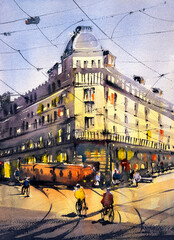Panel Szklany Paryż Watercolor Painting - Street View of Paris