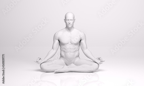Obraz 3D Rendering : A sculpture of a man meditating on the ground floor with silver texture. A man is sitting and practicing yoga in silence - fototapety do salonu