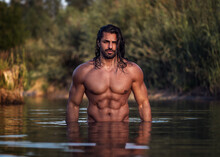 Long Haired Bearded Muscular M...