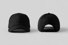 Black Baseball Caps Mockup On ...