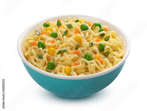 Fototapeta Instant noodles in bowl isolated on white background obraz
