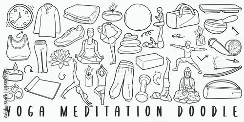 Cuadros en Lienzo Yoga and Meditation Doodle Line Art Illustration