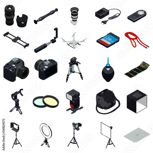 Photo Photographer equipment icons set