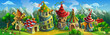 A big panorama of  fairytale village with colorful houses and a mill. Vector illustration for design.