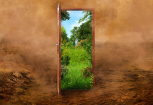 Open Door To The New Summer Landscape World, Green Nature Environment Against Desert Background. Earth Climate Balance Problem, Ecology Crisis, Decision Making, Opportunity 3d Eco Concept Illustration
