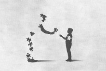 Illustration Of A Man Giving The Missing Puzzle To A Child, Sacrifice Concept