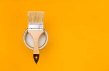 Paintbrush With A Wooden Handl...