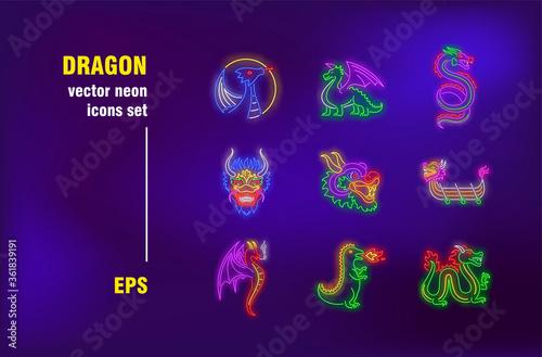 Fototapeta Dragon neon signs collection