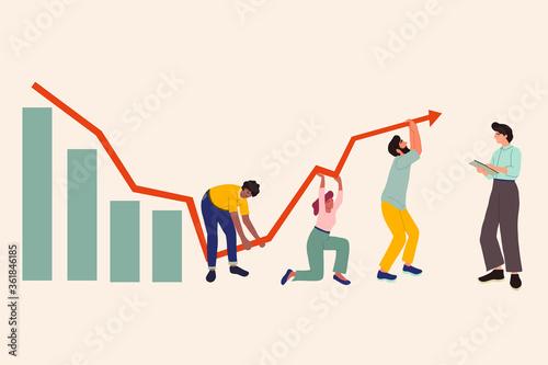 Slika na platnu Illustration of global economic impacts, recession, economy graph chart down