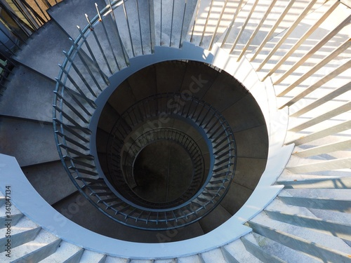 Fototapety, obrazy: emergency spiral stairs, look down