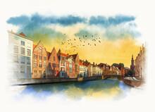 Embankment In The City Of Bruges, Belgium. Watercolor Sketch