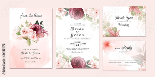 Obraz Foliage wedding invitation template set with burgundy and brown watercolor floral bouquet and border decoration. Botanic card design concept - fototapety do salonu