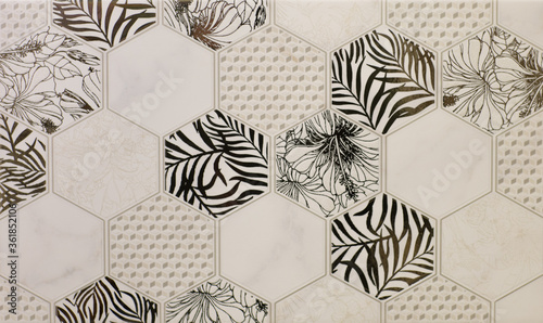 Carta da parati ceramic tile with abstract mosaic floral pattern