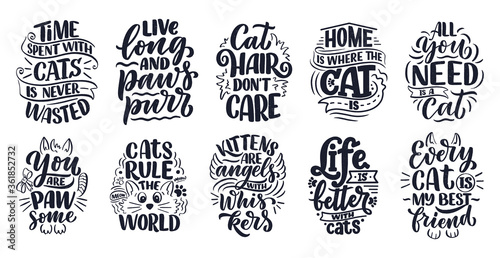 Fotografie, Obraz Set with funny lettering quotes about cats for print in hand drawn style