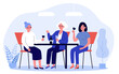 Young and senior women drinking wine in cafe. Family meeting, girls party flat vector illustration. Togetherness, generation, celebration concept for banner, website design or landing web page